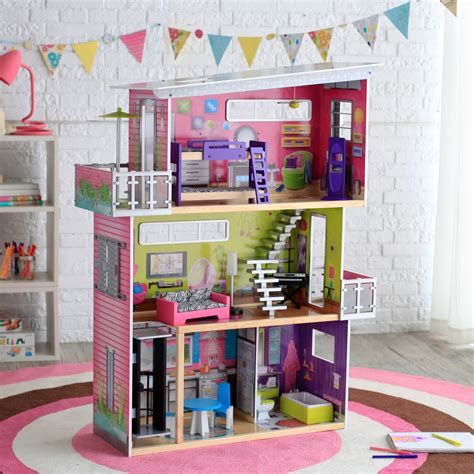 doll house with lights kidkraft modern mansion dollhouse with lights and sounds at hayneedle