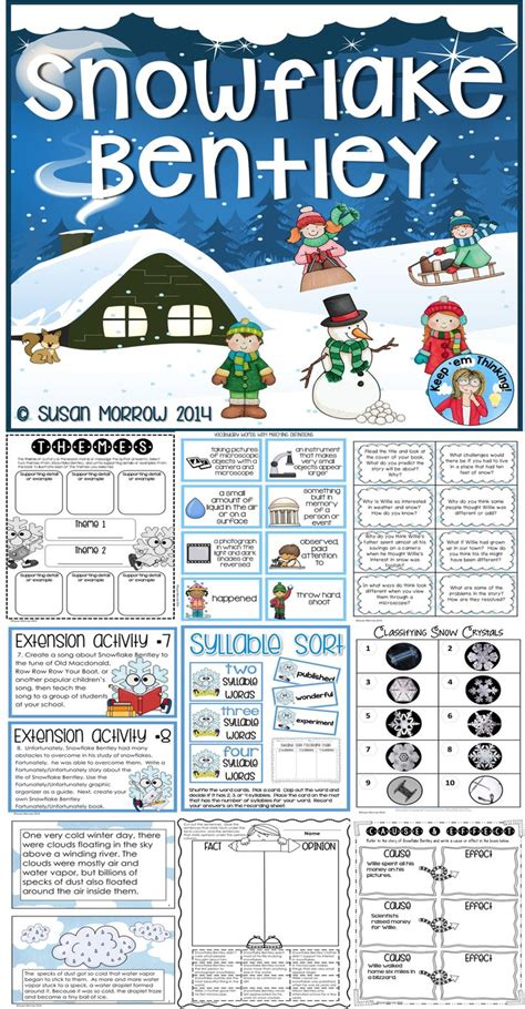 snowflake bentley worksheets snowflake bentley a winter themed literature and science