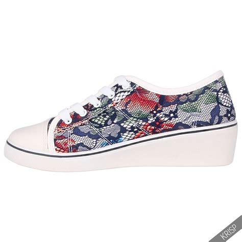 womens high heel tennis shoes womens gem canvas high heel wedge trainers sneakers low