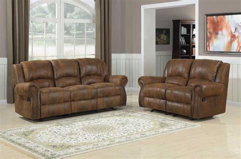 Homelegance Quinn Reclining Sofa Set Bomber Jacket Reclining Sofa Set