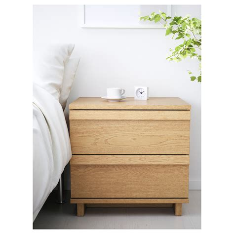 Oak Veneer Chest Of Drawers by Oppland Chest Of 2 Drawers Oak Veneer 60x57 Cm