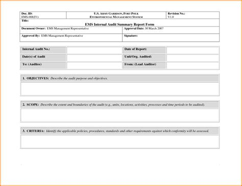 audit report templates 35 excellent audit report form template exles thogati