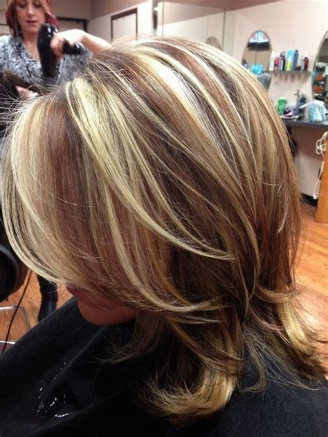 foils with red blonde chin length hair dark hair chunky blonde highlights red hair with chunky