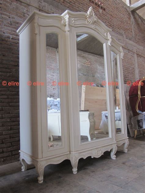 And White Wardrobe - bespoke large armoire wardrobe with mirrors rococo solid