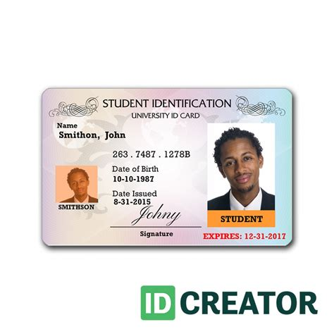 college student card template professional student id card order in bulk from idcreator