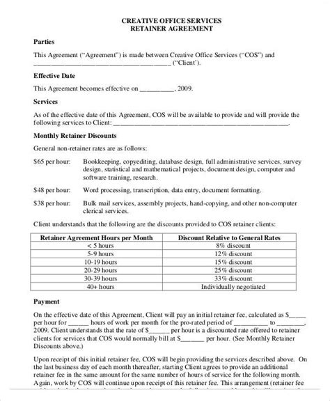monthly retainer agreement template 40 consulting agreement sle