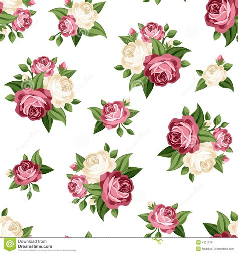 pink rose pattern clipart seamless vintage pattern with pink and white roses vector