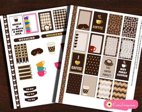 coffee planner stickers printable 5 free printable coffee themed planner stickers sets