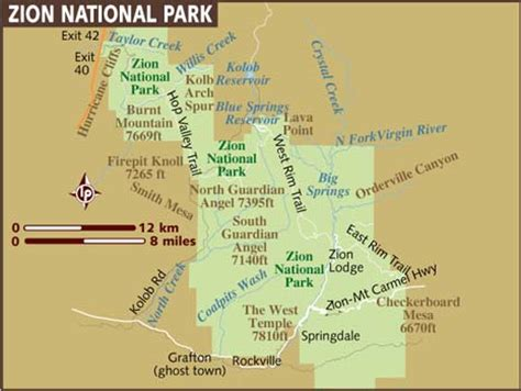 Printable Map Of Zion National Park | map of zion national park