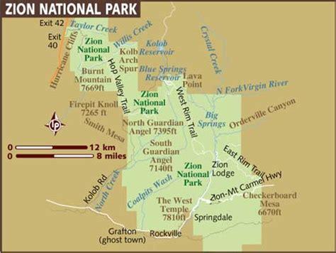 zion park map map of zion national park