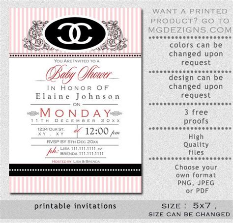 Printable Pink Chanel Inspired Baby Shower Invitation Template Diy Printables Pinterest Chanel Invitation Template