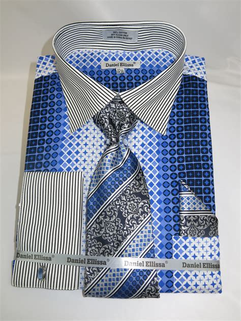 geometric pattern in french daniel ellissa ds3786p2 blue men s french cuff dress shirt