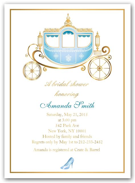 cinderella themed quinceanera invitations quot cinderella shower quot bridal shower invitations bridal