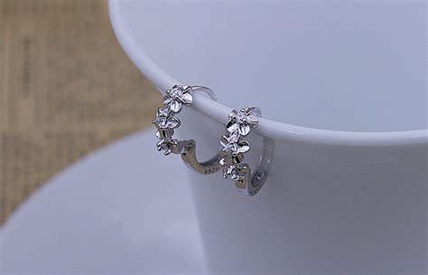 Silver Plated Rhinestone Stud Earrings 1pcs silver plated rhinestone stud earrings hoop for