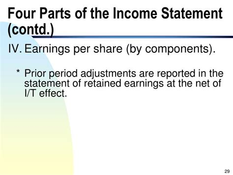 list the four sections of an income statement ppt the income statement and statement of cash flows