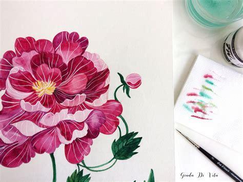 illustrare ad acquerello 3 dipingere un fiore ad un