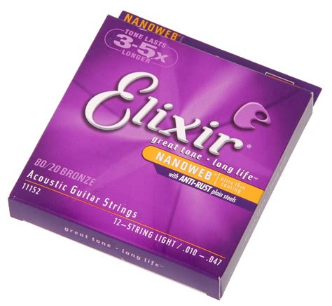 elixir light strings elixir 11152 nanoweb light 12 string acoustic guitar