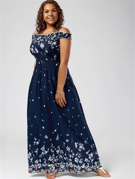 wipalo bohemian summer plus size 5xl floral print cold shoulder maxi dress empire waist