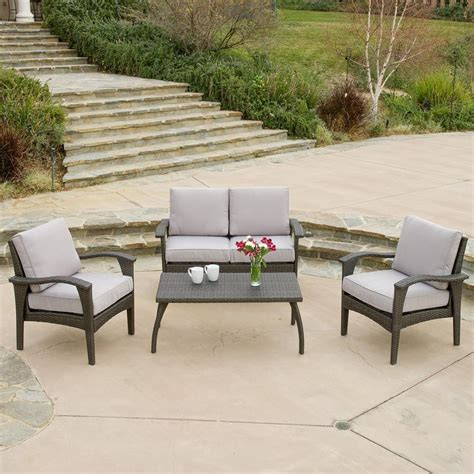 4 Chair Patio Set Shop Best Selling Home Decor Honolulu 4 Wicker Frame Patio Conversation Set With Light