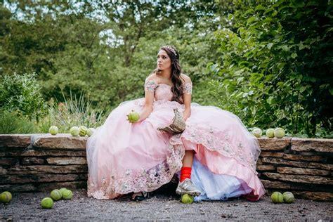 softball quincenera ball gown photoshoot princess