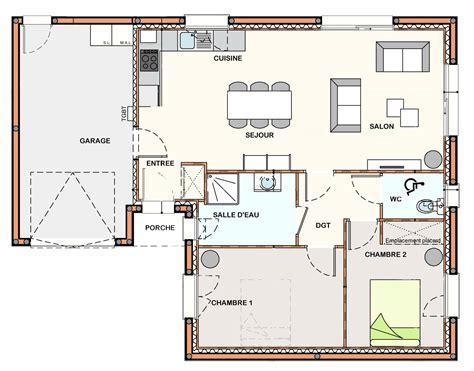 Salon D Une Maison by Plan Maison 2 Chambre Salon Cuisine