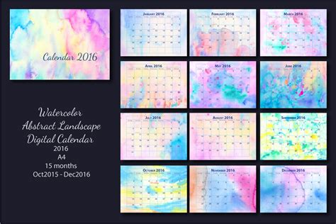 Kalender 2016 A4 2016 Monthly Calendar Watercolor A4 Stationery Templates