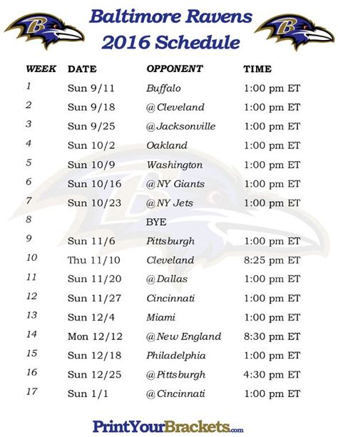printable ravens schedule printable baltimore ravens schedule 2016 football season