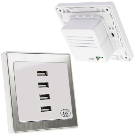 usb outlet wall plate chargers 4 usb ports home wall charger plate outlet panel safety