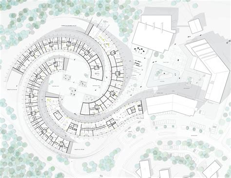 the curve floor plan koutalaki ski village in levi finland by big architects