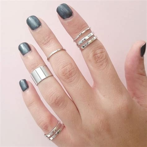 silver tube midi rings set of five by staxx