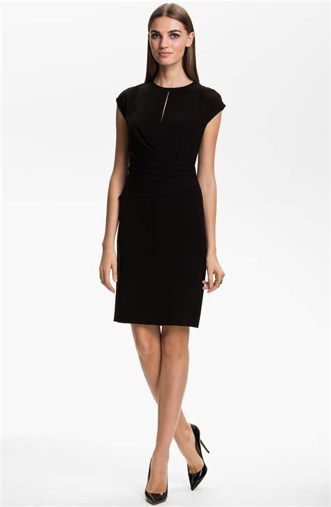 draped waist dress st john collection draped waist crepe dress in black