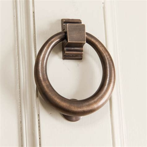distressed antique brass hoop door knocker