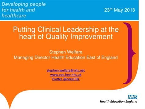 stephen welfare putting clinical leadership at the