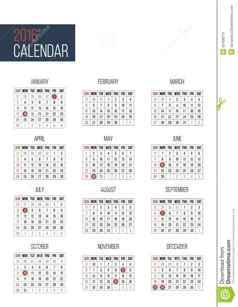 2016 calendar with federal holidays usa simple 2016 year calendar template stock vector image