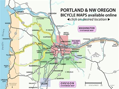 portland on map of oregon recreational bicycling rides maps the city of portland oregon