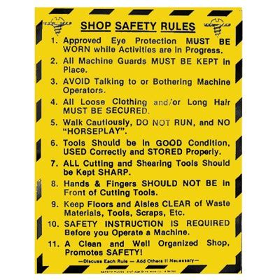 woodwork safety signs shop safety wood shop 17 1 2 quot x 22 quot