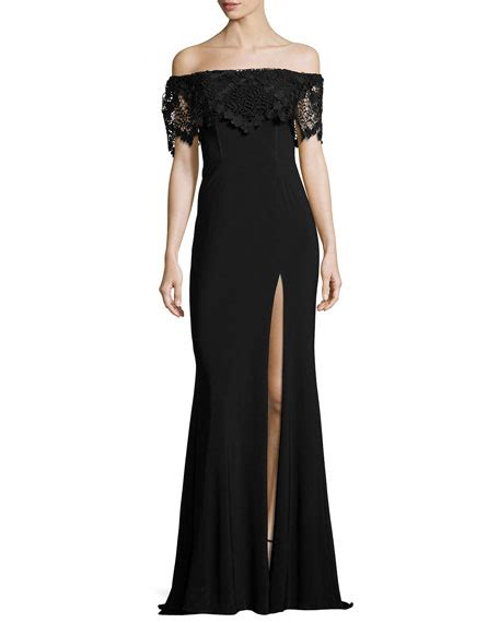 Faviana Off the Shoulder Stretch Crepe Gown, Black   Neiman Marcus