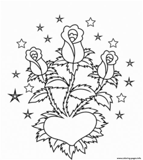 Coloring Pages Hearts And Roses by Roses And Hearts Coloring Pages Coloring Home