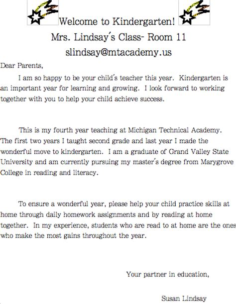 preschool welcome letter to parents from template mrs lindsay s superstar kindergarten welcome letter