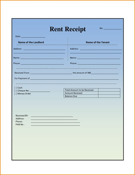 rent receipt template for word rent receipt word authorization letter pdf