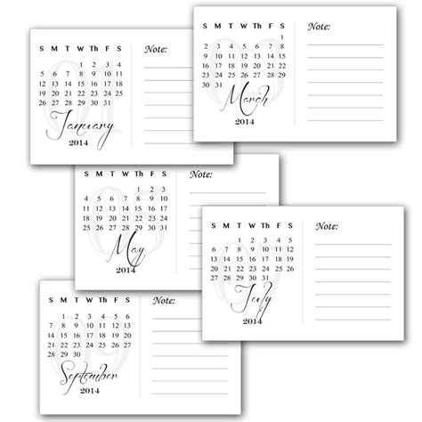 printable calendar cards printable