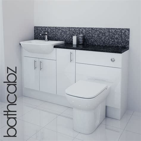 White Bathroom Furniture White Gloss Bathroom Fitted Furniture 1500mm Ebay