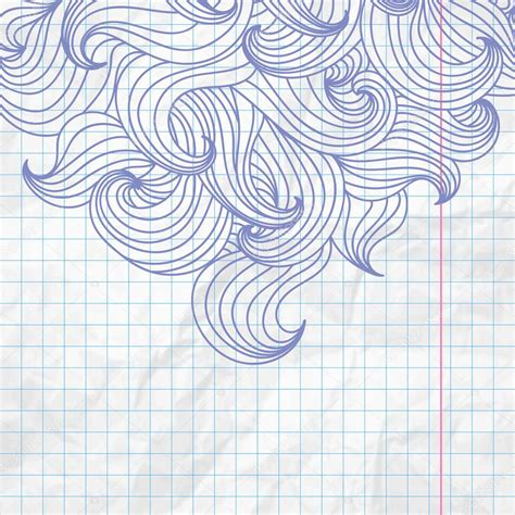 Curly Doodle On Crumpled Notepad Paper Stock Vector