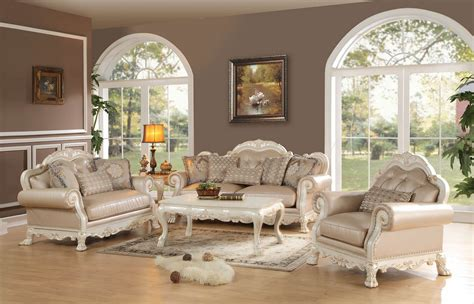 Acme 3 Piece Dresden Antique White Wood Trim Living Ebay White Vintage Living Room Furniture