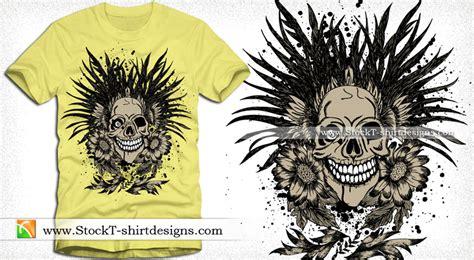 Kaos Skull Flower vector t shirt design with skull and flowers stockt