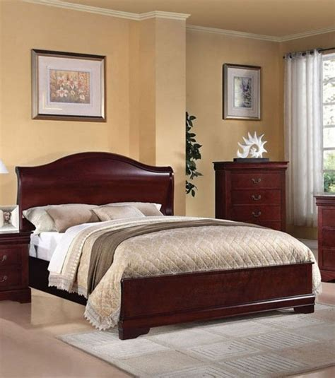acme furniture louis phillipe iii cherry finish california king sleigh bed 2 traditional