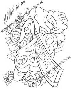 Straight Razor Tattoo Flash Sketch Coloring Page sketch template