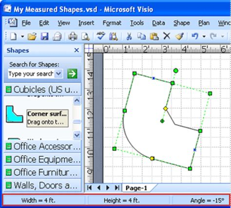 Office Desk Visio Shapes Show Size Or Dimensions Of Shapes In Visio Office Support