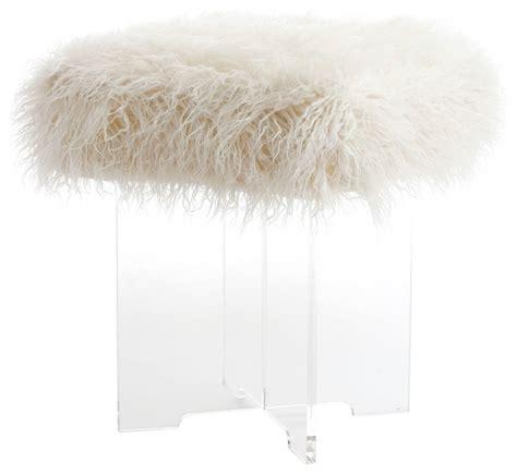 mongolian fur vanity stool best home fashion mongolian faux fur clear acrylic