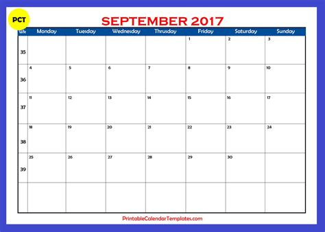 Calendar For September 2017 September 2017 Calendar Printable Printable Calendar